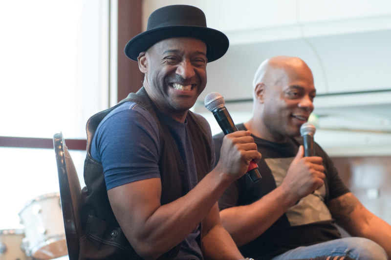 Marcus Miller interviews comedian Alonzo Bodden on the 2018 Blue Note at Sea cruise (photo by Amanda Turner/Tuke Photography)