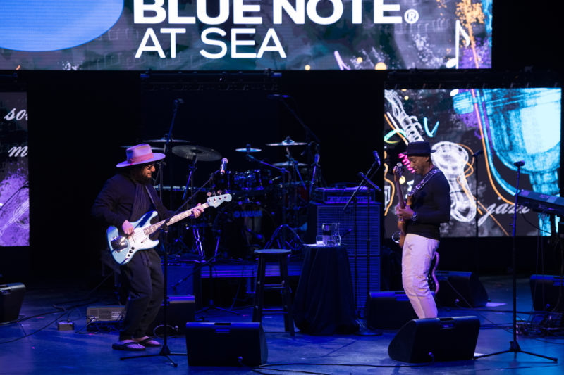 Dueling bassists Don Was and Marcus Miller jam their intro to performance by Chick Corea on the 2018 Blue Note at Sea cruise (photo by Amanda Turner/Tuke Photography)
