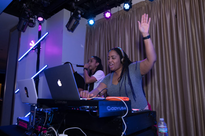 Lalah Hathaway (right) sits in as guest DJ with DJ Spark for the UpBeat Lounge late night party on Blue Note at Sea 2018 (photo by Amanda Turner/Tuke Photography)