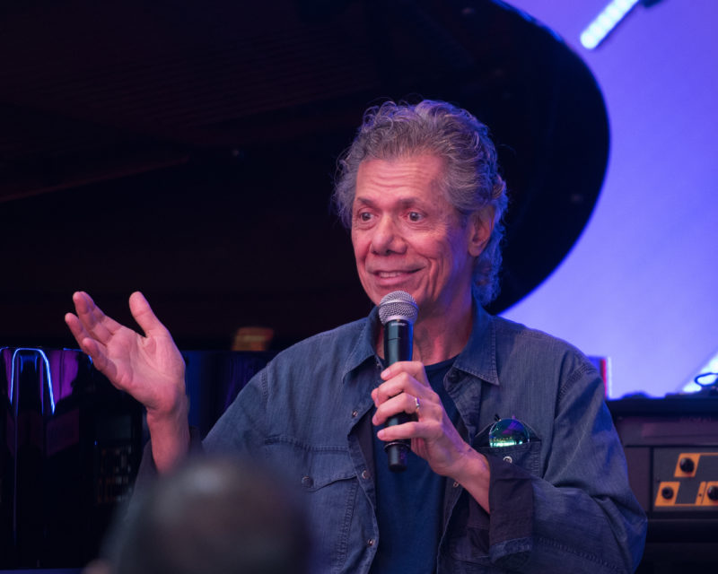 Chick Corea responds to question during 1:1 conversation on Blue Note at Sea 2018 (photo by Amanda Turner/Tuke Photography)