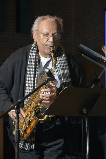 "Anthony Braxton soundchecks at ""A Musical Tribute to Dr. Muhal Richard Abrams""; the Community Church of New York – Jan. 29, 2018 (Credit: Alan Nahigian)"