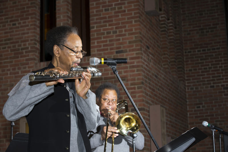 "Henry Threadgill (left) and George E. Lewis at ""A Musical Tribute to Dr. Muhal Richard Abrams""; the Community Church of New York – Jan. 29, 2018 (Credit: Alan Nahigian)"