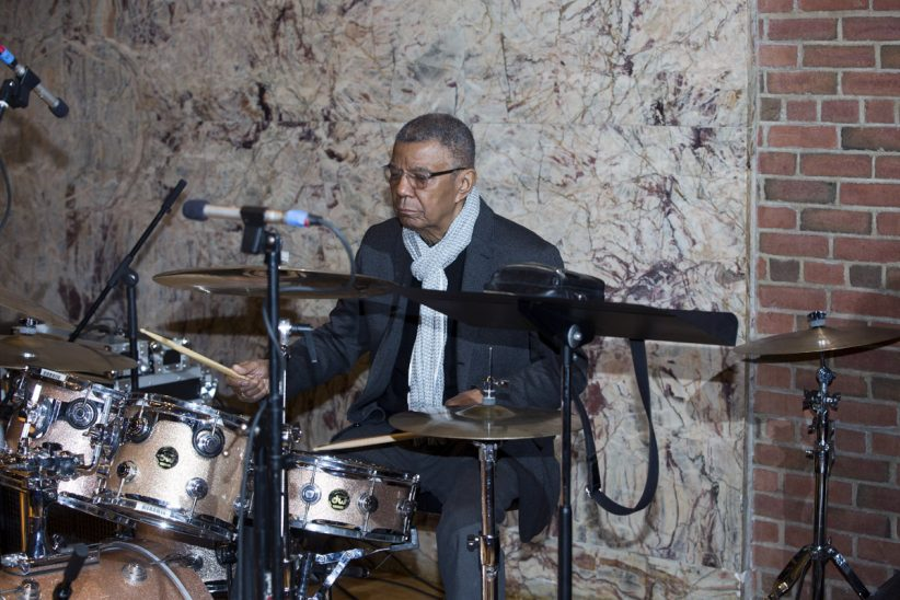 "Jack DeJohnettte at ""A Musical Tribute to Dr. Muhal Richard Abrams""; the Community Church of New York – Jan. 29, 2018 (Credit: Alan Nahigian)"