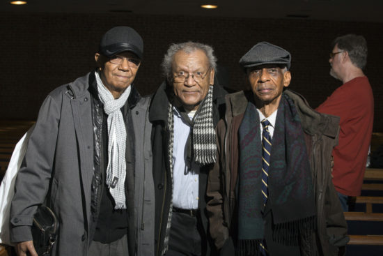 "Jack DeJohnette, Anthony Braxton and Roscoe Mitchell (from left) at ""A Musical Tribute to Dr. Muhal Richard Abrams""; the Community Church of New York – Jan. 29, 2018 (Credit: Alan Nahigian)"