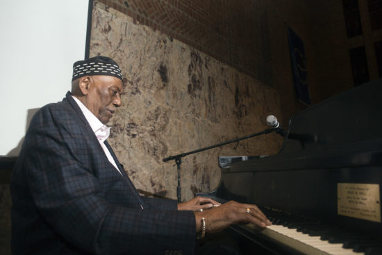 "Randy Weston at ""A Musical Tribute to Dr. Muhal Richard Abrams""; the Community Church of New York – Jan. 29, 2018 (Credit: Alan Nahigian)"