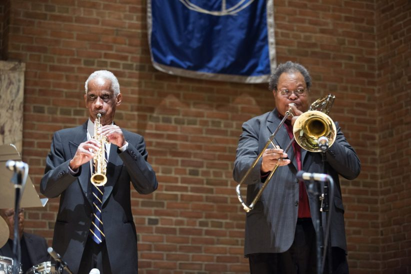 "Roscoe Mitchell (left) and George E. Lewis at ""A Musical Tribute to Dr. Muhal Richard Abrams""; the Community Church of New York – Jan. 29, 2018 (Credit: Alan Nahigian)"