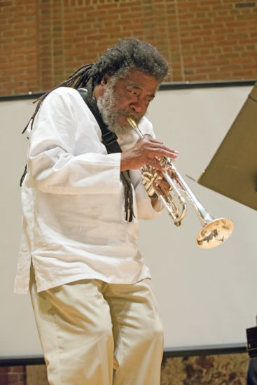 "Wadada Leo Smith at ""A Musical Tribute to Dr. Muhal Richard Abrams""; the Community Church of New York – Jan. 29, 2018 (Credit: Alan Nahigian)"