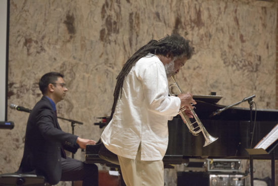 "Wadada Leo Smith (right) and Vijay Iyer at ""A Musical Tribute to Dr. Muhal Richard Abrams""; the Community Church of New York – Jan. 29, 2018 (Credit: Alan Nahigian)"