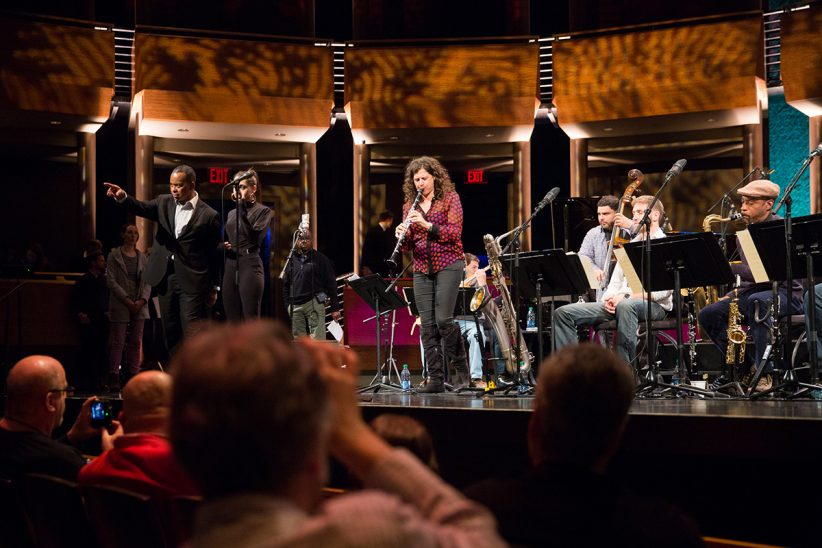 The Jazz at Lincoln Center Orchestra (featuring clarinetist Anat Cohen) sound-checks in the Rose Theater (photo by Lawrence Sumulong/JALC)