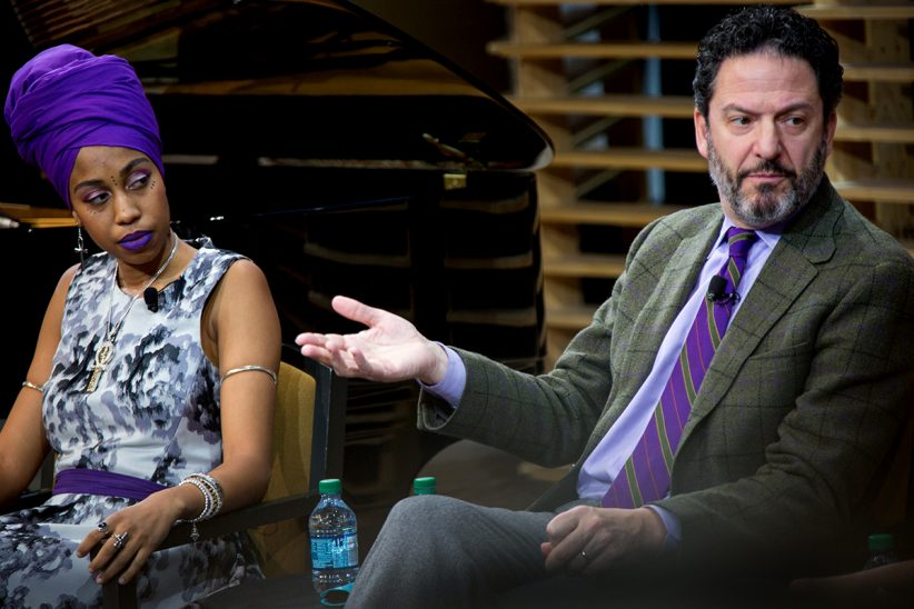 Jazzmeia Horn and John Pizzarelli discuss repertoire (photo by Lawrence Sumulong/JALC)