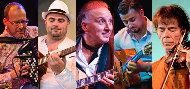 The Django Festival Allstars, with Dorado Schmitt at center