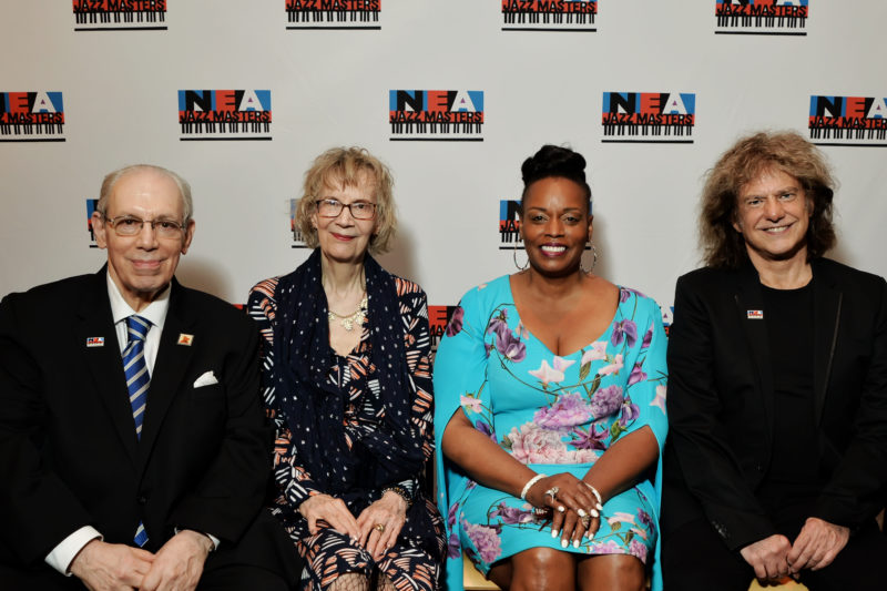 The 2018 class of NEA Jazz Masters: Todd Barkan, Joanne Brackeen, Dianne Reeves and Pat Metheny (photo by Shannon Finney)