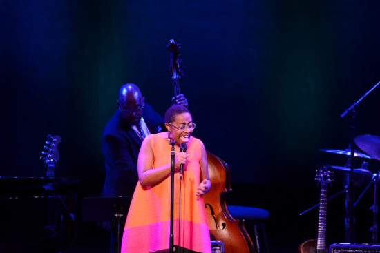 Cécile McLorin Salvant and bassist Christian McBride pay tribute to Dianne Reeves (photo by Shannon Finney, c/o NEA)
