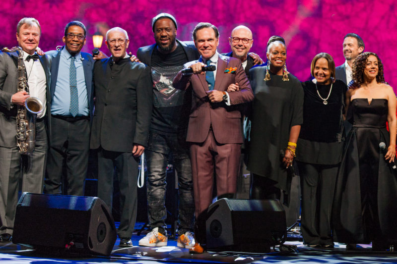 An all-star cast at the 2018 International Jazz Day Global Concert in Saint Petersburg, Russia, with co-artistic directors Igor Butman and Herbie Hancock (from far left) (photo by Steve Mundinger/Thelonious Monk Institute of Jazz)
