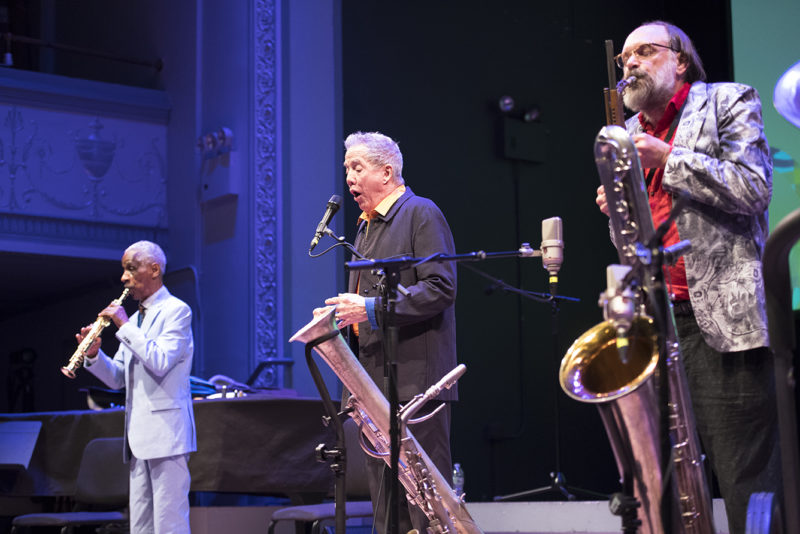 SPACE, featuring (L to R) Roscoe Mitchell, Scott Robinson, and Thomas Buckner, performs at Roulette, May 24, 2018