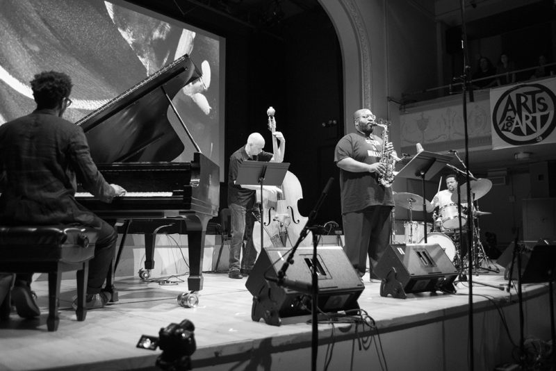 Nasheet Waits' Equality Quartet (L to R: Aruan Ortiz, Mark Helias, Darius Jones, Nasheet Waits) performs at Roulette, May 25, 2018