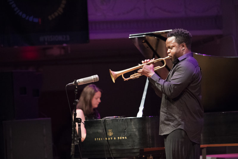 Kris Davis (L) and Ambrose Akinmusire perform at Roulette, May 26, 2018