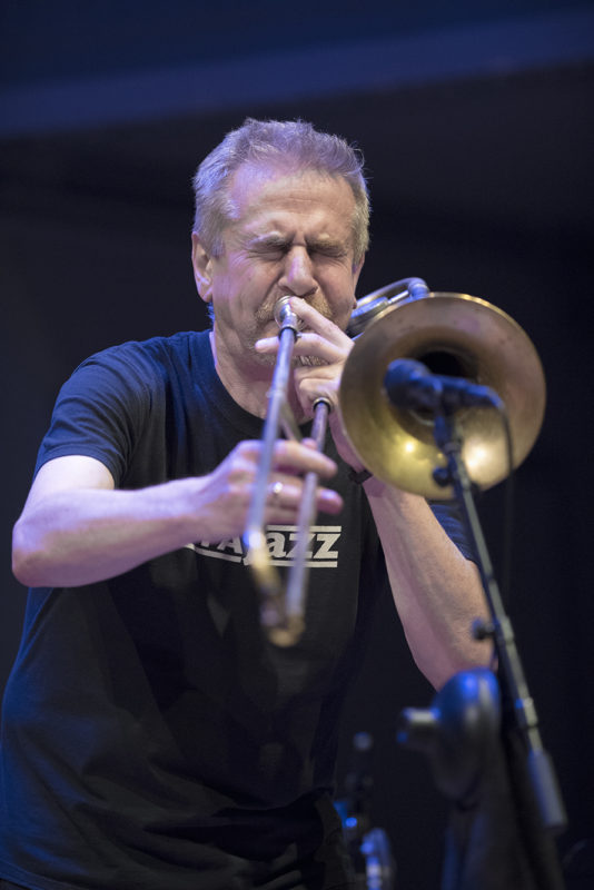 Steve Swell performs with the Frøde Gjerstad Trio at Roulette, May 27, 2018