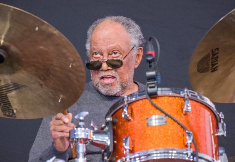 Alvin Fielder in performance at the 2018 New Orleans Jazz & Heritage Festival (photo by Mark Robbins)