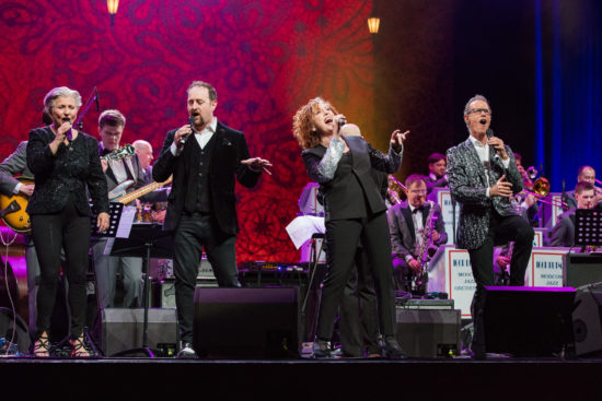The Manhattan Transfer opens the Global Concert backed by the Igor Butman-led Moscow Jazz Orchestra (photo by Steve Mundinger/Thelonious Monk Institute of Jazz)