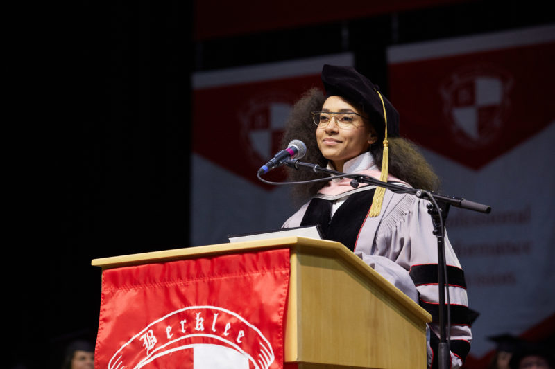Esperanza Spalding delivers commencement address to Berklee College of Music class of 2018 (photo by Dave Green)
