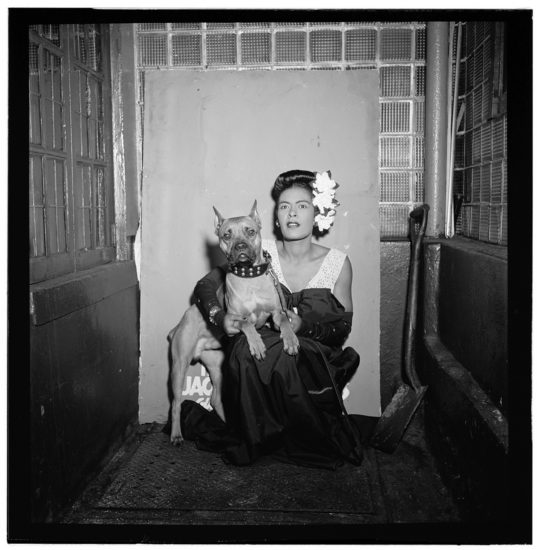 "Billie Holiday and her dog ""Mister"" (photo by William P. Gottlieb/courtesy of the Library of Congress)"