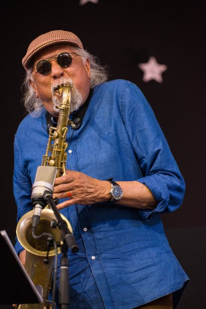Charles Lloyd in performance at the 2018 Jazz Fest in New Orleans (photo by Mark Robbins)