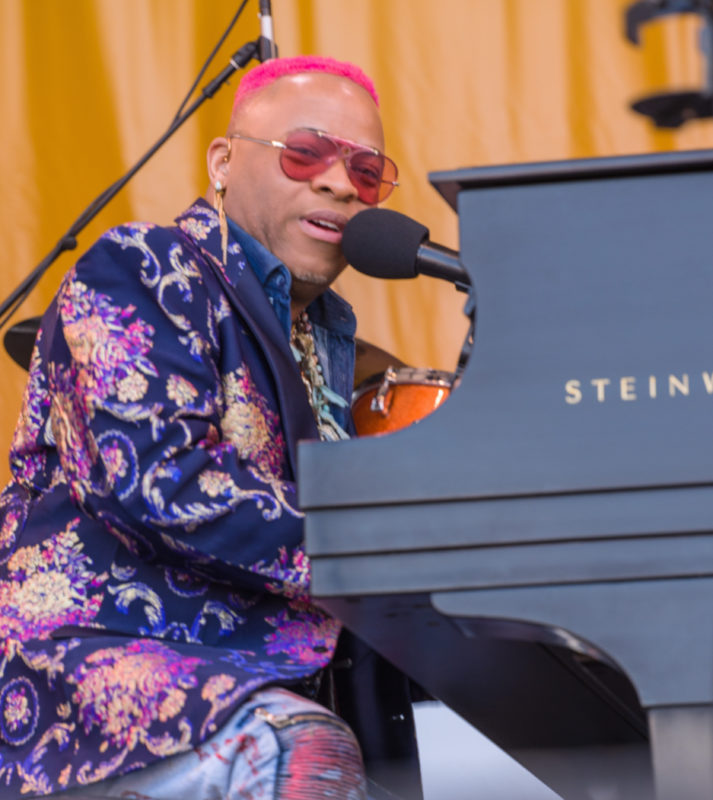 Davell Crawford in performance saluting Fats Domino at the 2018 New Orleans Jazz & Heritage Festival (photo by Mark Robbins)