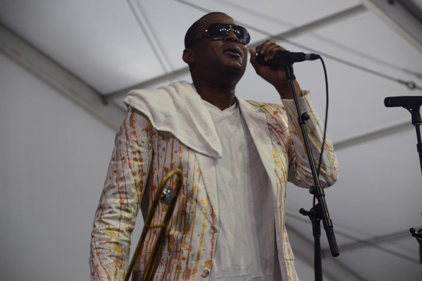 Glen David Andrews performing at the 2018 New Orleans Jazz & Heritage Festival (photo by Joel A. Siegel)