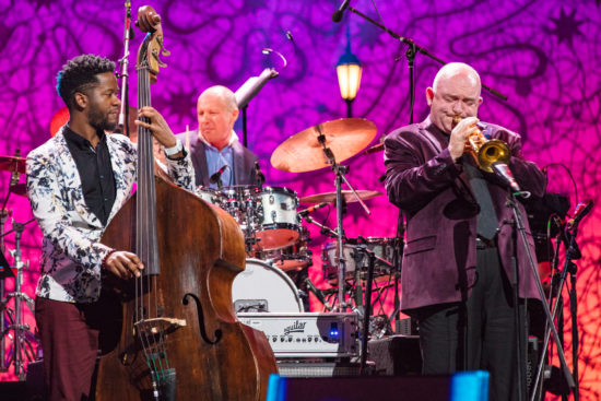 The great Australian trumpeter James Morrison, seen here with bassist Ben Williams and drummer Oleg Butman, will help helm IJD 2019 in Sydney (photo by Steve Mundinger/Thelonious Monk Institute of Jazz)