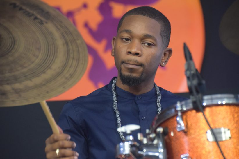 Drummer Joe Dyson performing at the 2018 New Orleans Jazz & Heritage Festival (photo by Joel A. Siegel)