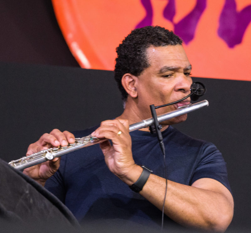 Kent Jordan in performance at the 2018 New Orleans Jazz & Heritage Festival (photo by Mark Robbins)