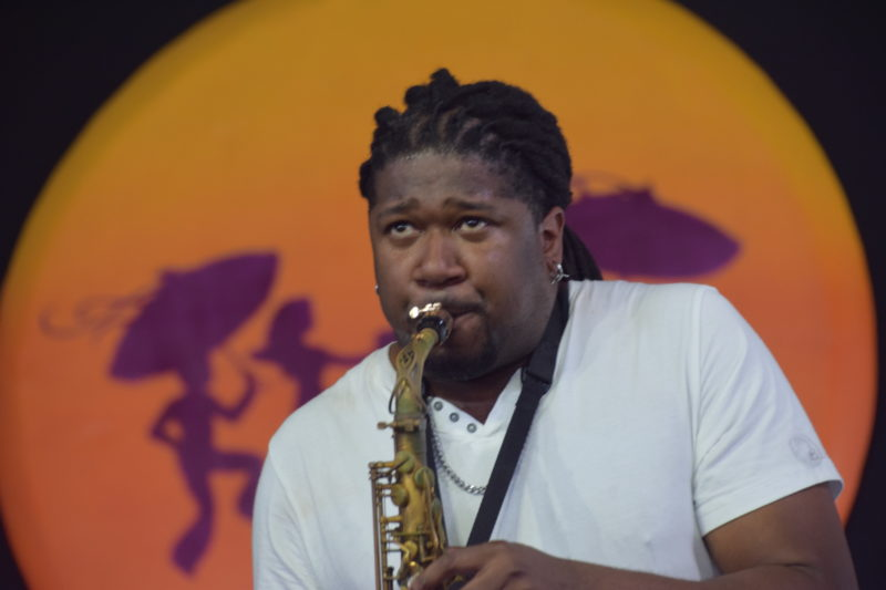 Saxophonist Khris Royal performing at the 2018 New Orleans Jazz & Heritage Festival (photo by Joel A. Siegel)