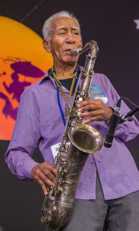 Kidd Jordan in performance at the 2018 New Orleans Jazz & Heritage Festival (photo by Mark Robbins)