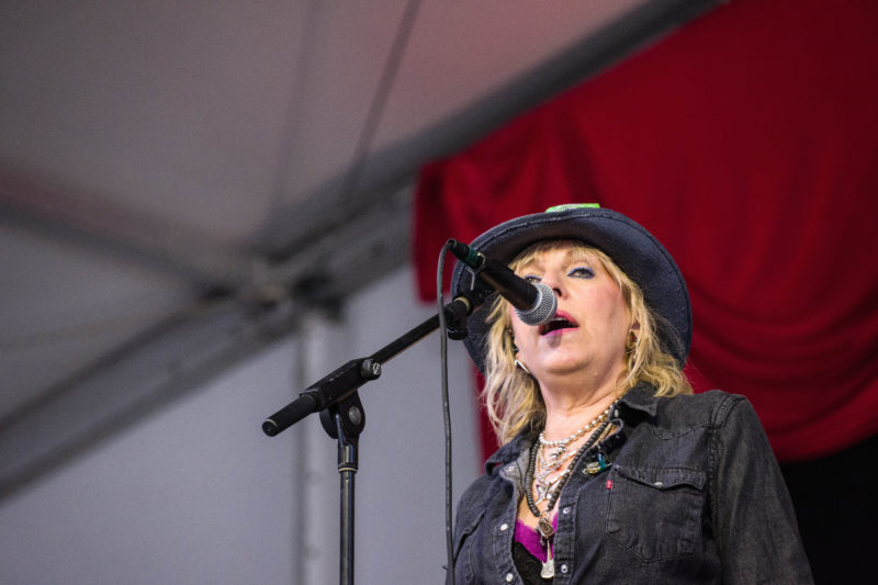 Lucinda Williams in performance with Charles Lloyd at the 2018 New Orleans Jazz & Heritage Festival (photo by Mark Robbins)