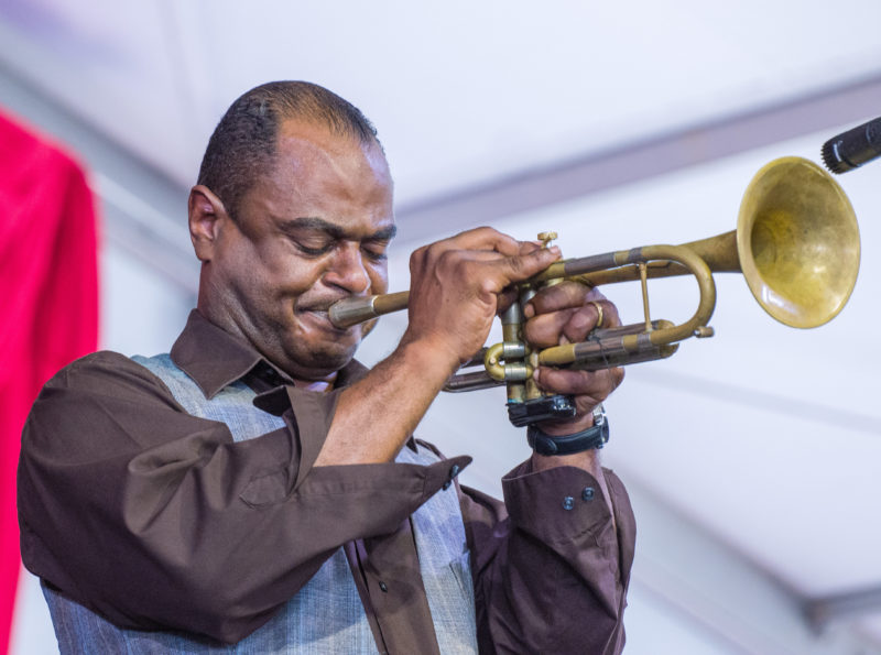Marlon Jordan in performance at the 2018 New Orleans Jazz & Heritage Festival (photo by Mark Robbins)