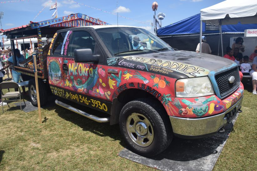 Mr. Okra's truck in residence at the 2018 New Orleans Jazz & Heritage Festival (photo by Joel A. Siegel)