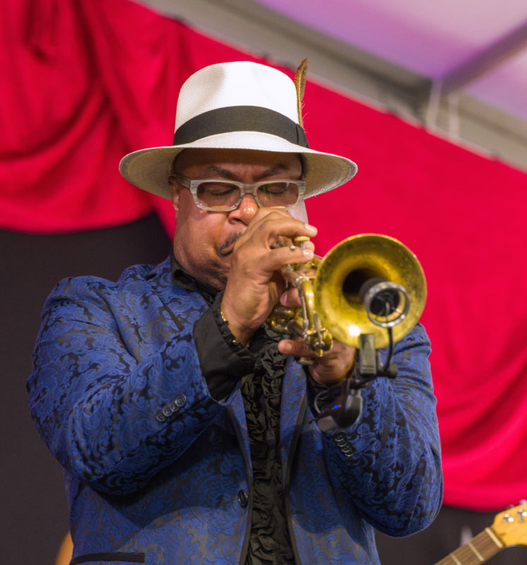 Nicholas Payton in performance at the 2018 New Orleans Jazz & Heritage Festival (photo by Mark Robbins)