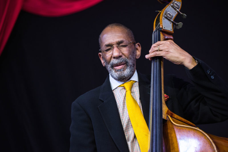 Ron Carter in performance at the 2018 New Orleans Jazz & Heritage Festival (photo by Mark Robbins)