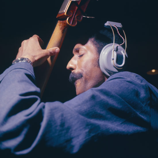 Ron Carter recording at Van Gelder Studio in 1967 (Photo by Francis Wolff/Mosaic Images)