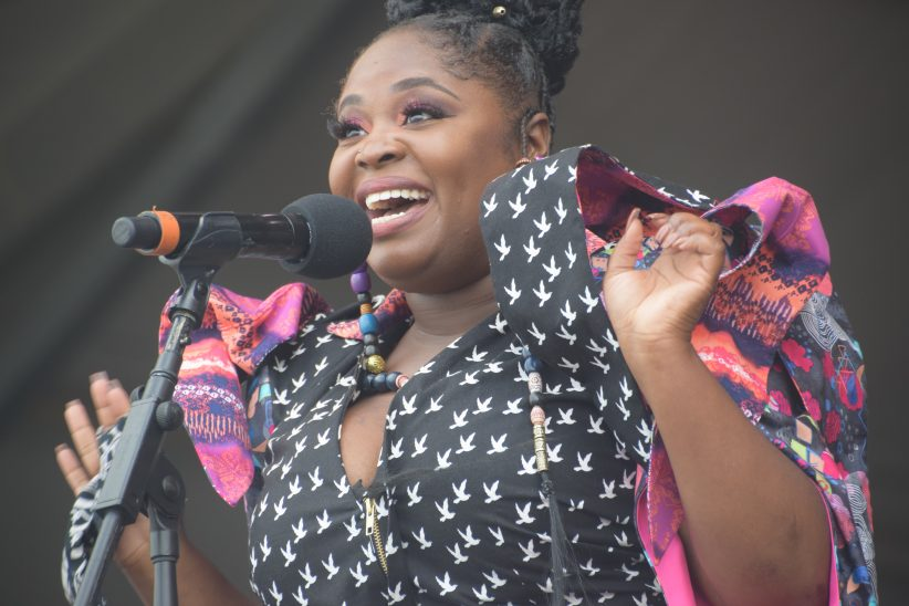 "Tarriona ""Tank"" Ball performing at the 2018 New Orleans Jazz & Heritage Festival (photo by Joel A. Siegel)"