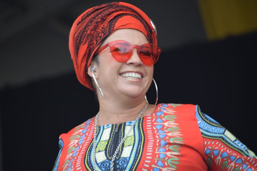 Telmary performing with Habana Sana at the 2018 New Orleans Jazz & Heritage Festival (photo by Joel A. Siegel)
