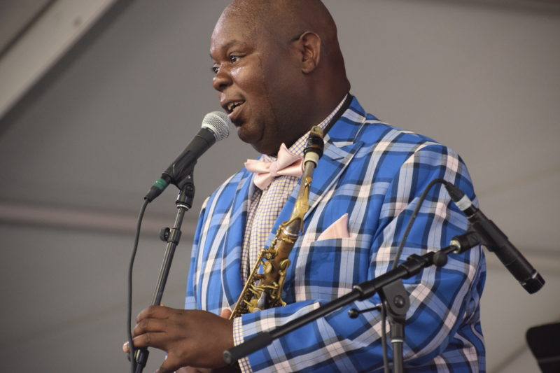 "Wess ""Warmdaddy"" Anderson performing at the 2018 New Orleans Jazz & Heritage Festival (photo by Joel A. Siegel)"