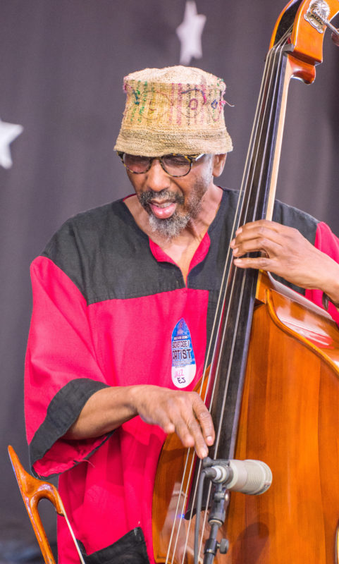 William Parker in performance at the 2018 New Orleans Jazz & Heritage Festival (photo by Mark Robbins)