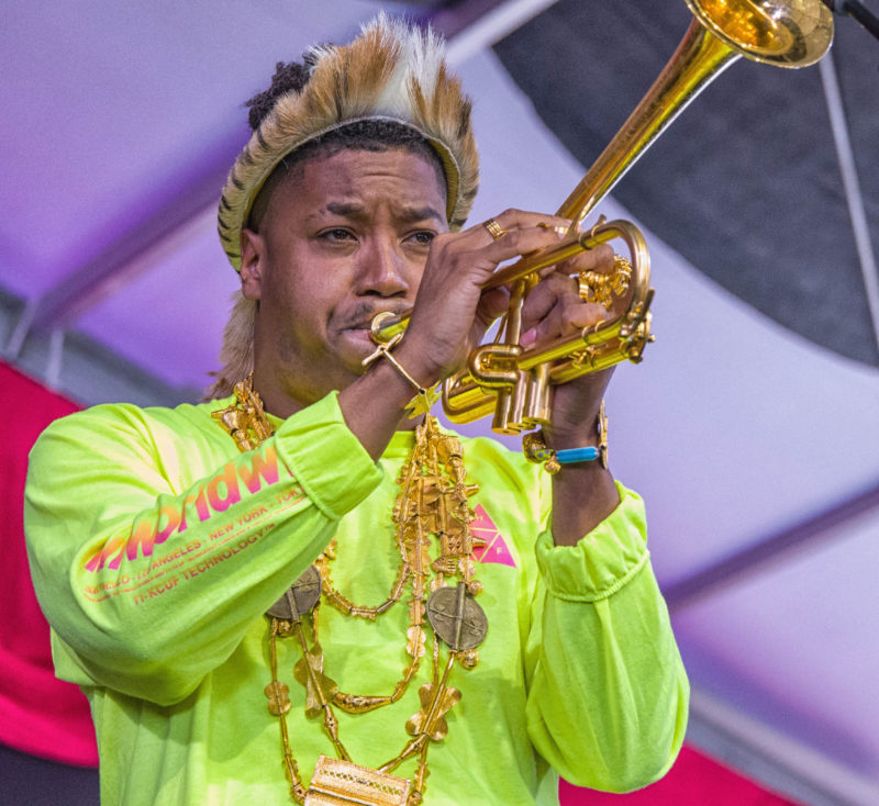 Christian Scott aTunde Adjuah in performance at the 2018 New Orleans Jazz & Heritage Festival (photo by Mark Robbins)