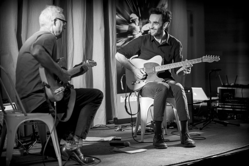 Bill Frisell (L) and Julian Lage at the 2018 Healdsburg Jazz Festival (photo: George B. Wells)