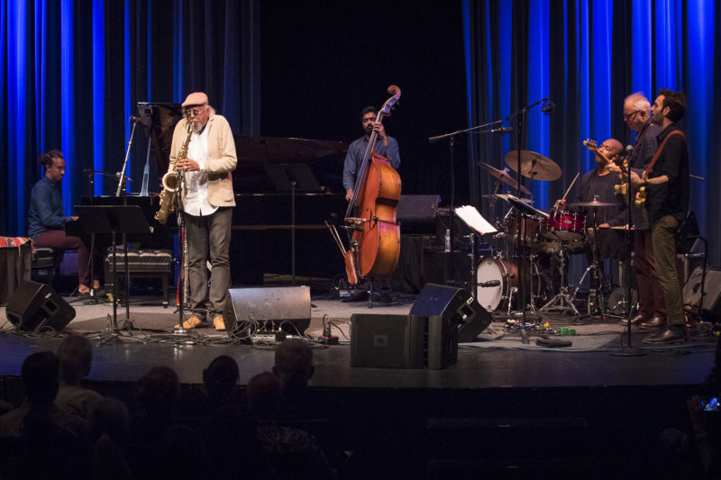 L to R: Gerald Clayton, Charles Lloyd, Harish Raghavan, Eric Harland, Bill Frisell, and Julian Lage at the 2018 Healdsburg Jazz Festival (photo: George B. Wells)