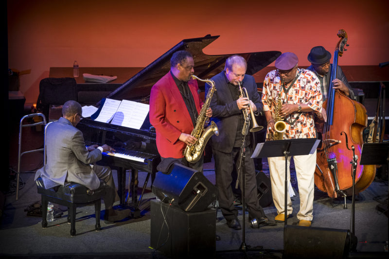 The Healdsburg Festival All-Stars—L to R: George Cables, Chico Freeman, David Weiss, Bobby Watson, and Essiet Okon Essiet—at the 2018 Healdsburg Jazz Festival (photo: George B. Wells)