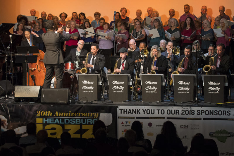 The Marcus Shelby Orchestra performs with the Healdsburg Jazz Festival Freedom Jazz Choir at the 2018 Healdsburg Jazz Festival (photo: George B. Wells)