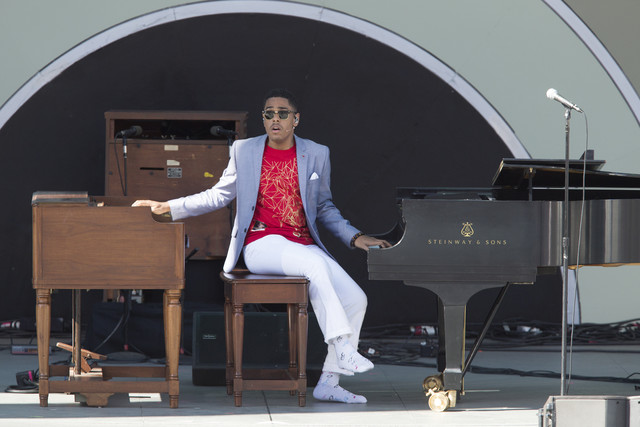 Matthew Whitaker plays organ and piano at the 2018 Playboy Jazz Fest